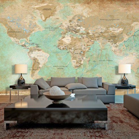 XXL Fotótapéta - Turquoise World Map II    500x280 cm  -  ajandekpont.hu