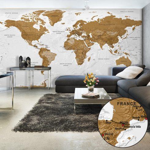 XXL Fotótapéta - World Map: White Oceans II    500x280 cm  -  ajandekpont.hu