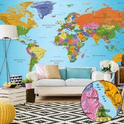 XXL Fotótapéta - World Map: Colourful Geography II    500x280 cm