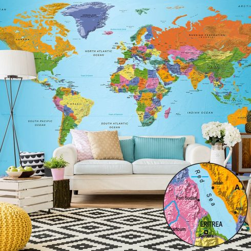 XXL Fotótapéta - World Map: Colourful Geography II    500x280 cm  -  ajandekpont.hu