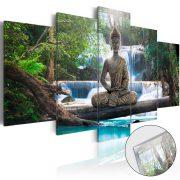 Akrilüveg kép - Buddha and Waterfall [Glass]
