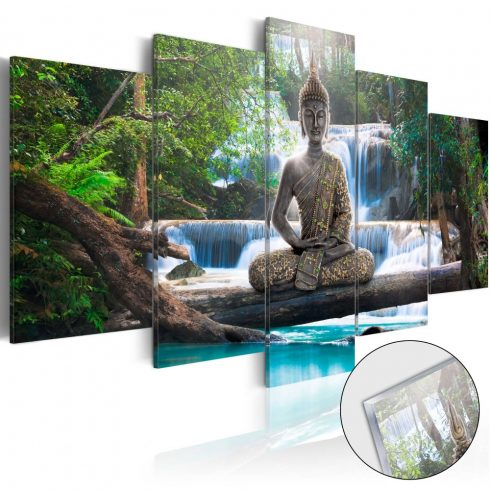 Akrilüveg-kép-Buddha-and-Waterfall-Glass - ajandekpont.hu