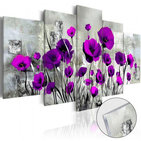 Akrilüveg-kép-Meadow-Purple-Poppies-Glass - ajandekpont.hu