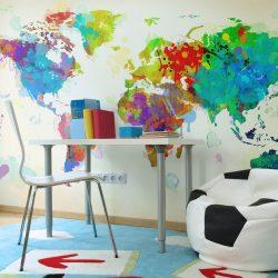 Fotótapéta - Paint splashes map of the World ll