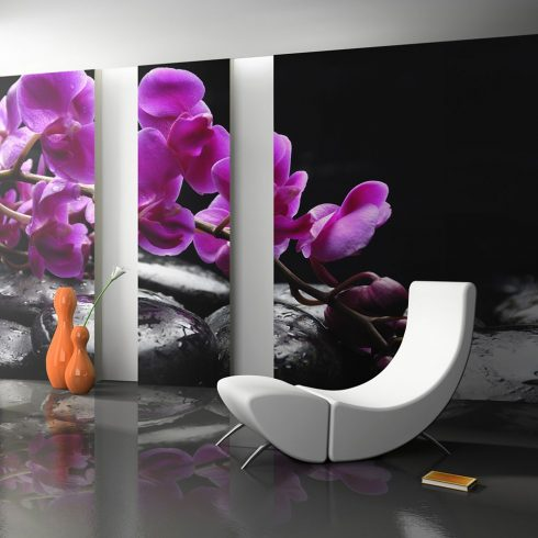 Fotótapéta - Relaxáló pillanat: orchidea virág és kövek  -  ajandekpont.hu