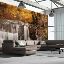 XXL Fotótapéta - Autumn landscape: waterfall in forest    550x270 cm