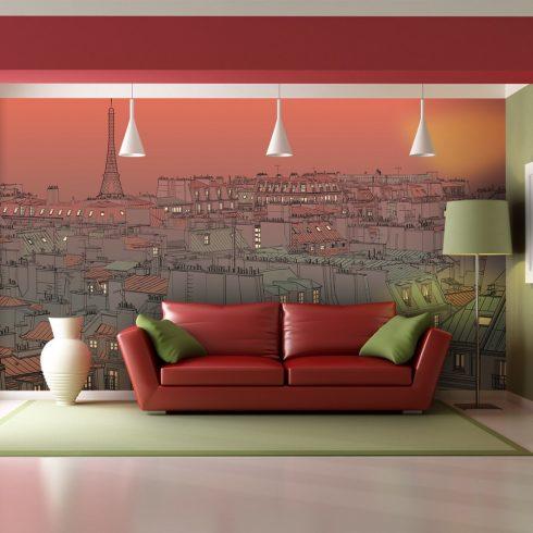 XXL Fotótapéta - Afterglow Párizs felett   550x270 cm  -  ajandekpont.hu