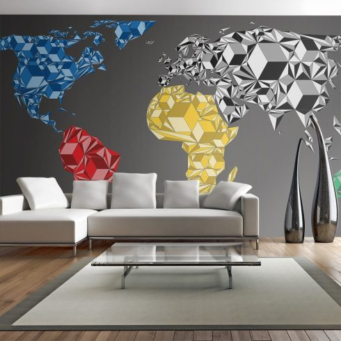 XXL Fotótapéta - Map of the World - colorful solids    550x270 cm
