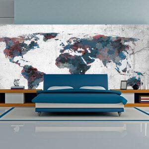 XXL Fotótapéta - World map on the wall    550x270 cm