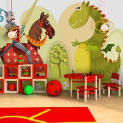 Fotótapéta - Dragon and knight