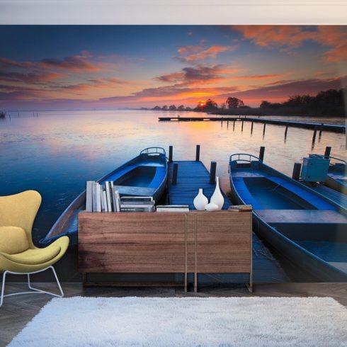 Fotótapéta - Sunset, boats and jetty  -  ajandekpont.hu