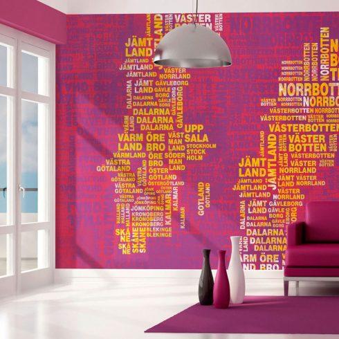 Fotótapéta - Text map of Sweden on pink background  -  ajandekpont.hu
