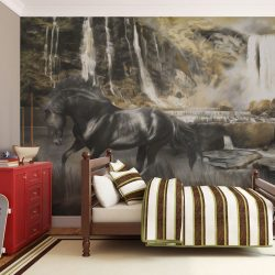 Fotótapéta - Fekete ló és sziklás vízesés