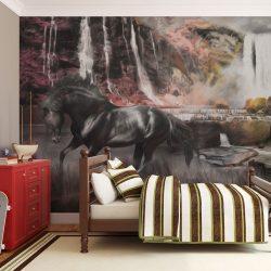 Fotótapéta - Fekete ló egy vízesés