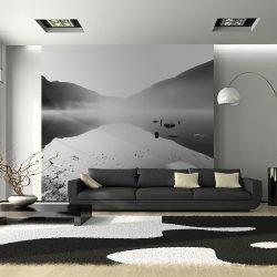 Fotótapéta - Hegyi tó - fekete-fehér fotó