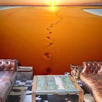 Fotótapéta - Lábnyomok a homokban