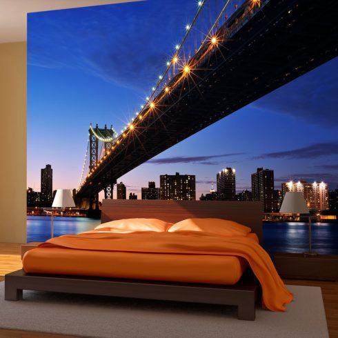 Fotótapéta - Manhattan Bridge megvilágított éjszakai  -  ajandekpont.hu