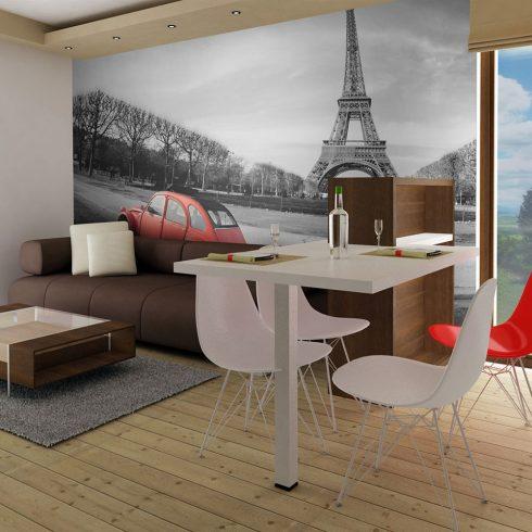 Fotótapéta - Eiffel-torony és a piros autó  -  ajandekpont.hu