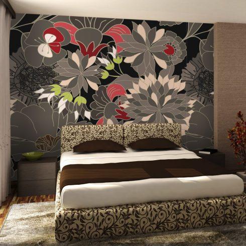 Fotótapéta - floral design - gray  -  ajandekpont.hu