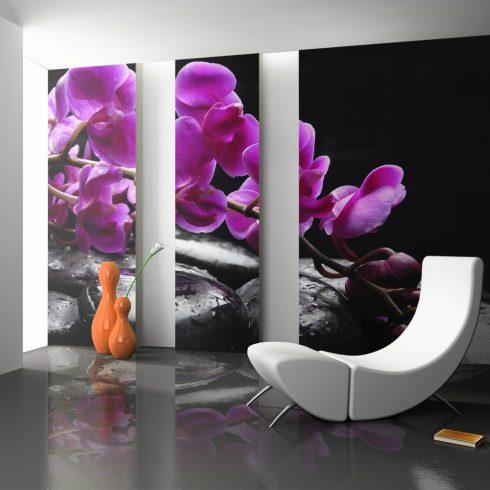 Fotótapéta - Relaxáló pillanat: orchidea virág és kövek ll  -  ajandekpont.hu