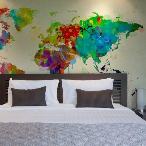 Fotótapéta - Paint splashes map of the World l  -  ajandekpont.hu