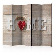 Paraván - Room divider - Home and red heart 5 részes 225x172 cm