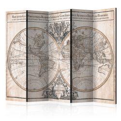 Paraván - Mappe-Monde Geo-Hydrographique [Room Dividers] 5 részes 225x172 cm