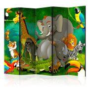 Paraván - Colourful Safari II [Room Dividers] 5 részes 225x172 cm