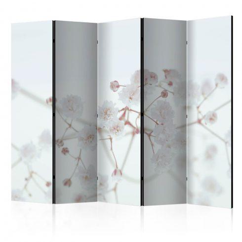Paraván - White Flowers II [Room Dividers] 5 részes 225x172 cm - ajandekpont.hu