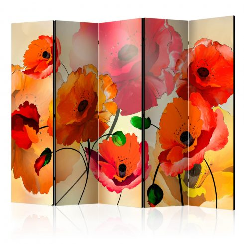 Paraván - Velvet Poppies II [Room Dividers] 5 részes 225x172 cm  -  ajandekpont.hu