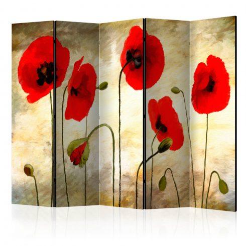 Paraván - Golden Field of Poppies II [Room Dividers] 5 részes 225x172 cm  -  ajandekpont.hu
