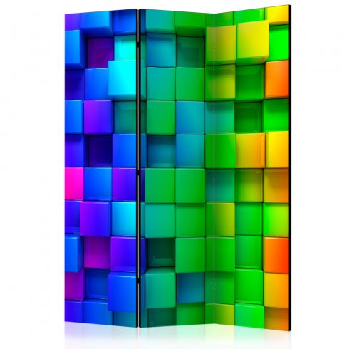 Paraván - Colourful Cubes [Room Dividers] 3 részes  135x172 cm  -  ajandekpont.hu