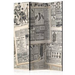 Paraván - Vintage Newspapers [Room Dividers] 3 részes  135x172 cm  -  ajandekpont.hu