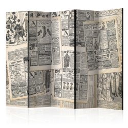 Paraván - Vintage Newspapers II [Room Dividers] 5 részes 225x172 cm
