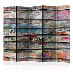 Paraván - Colourful Wood II [Room Dividers] 5 részes 225x172 cm