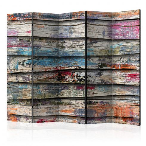 Paraván - Colourful Wood II [Room Dividers] 5 részes 225x172 cm  -  ajandekpont.hu