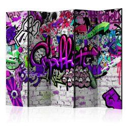 Paraván -  Purple Graffiti [Room Dividers] 5 részes 225x172 cm