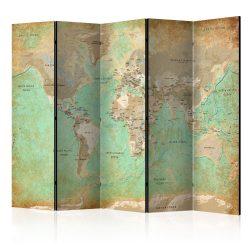 Paraván - Turquoise World Map  [Room Dividers] 5 részes 225x172 cm