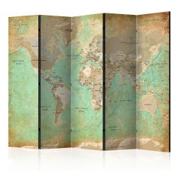 Paraván - Turquoise World Map  [Room Dividers] 5 részes 225x172 cm
