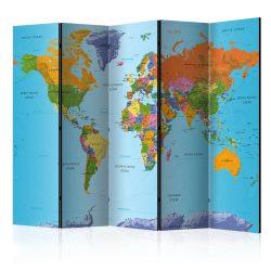 Paraván - Colourful Geography [Room Dividers] 5 részes 225x172 cm