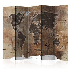 Paraván - Room divider – Map on the wood 5 részes 225x172 cm
