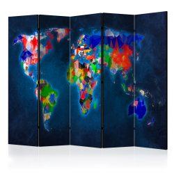 Paraván - Room divider – Colorful map 5 részes 225x172 cm