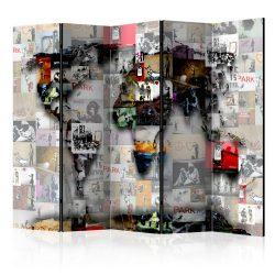 Paraván - Room divider – World map – Banksy 5 részes 225x172 cm