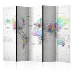Paraván - Room divider – White-colorful world map 5 részes 225x172 cm