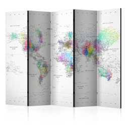 Paraván - Room divider – White-colorful world map 5 részes 225x172 cm