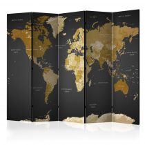 Paraván - Room divider - World map on dark background 5 részes 225x172 cm