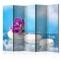 Paraván - Pink Orchid and white Zen Stones II [Room Dividers] 5 részes 225x172 cm