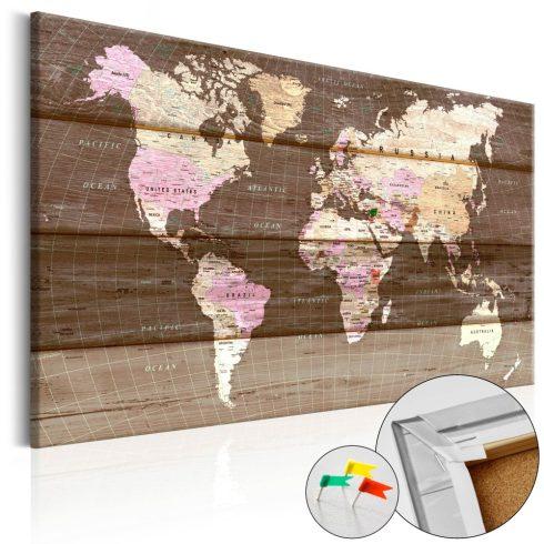 Világtérkép parafán - Wooden World [Cork Map]