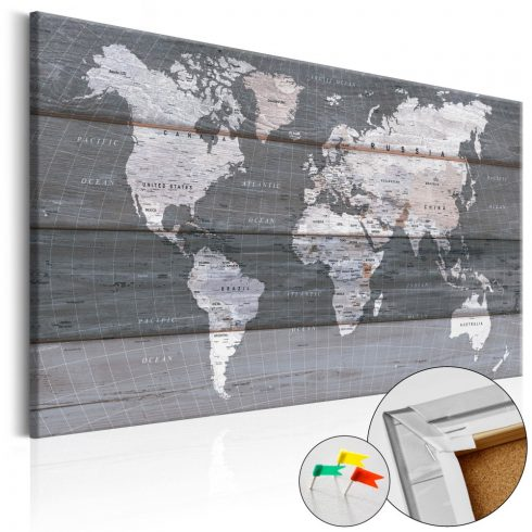 Világtérkép parafán - Grey Earth [Cork Map]