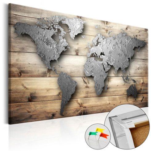 Világtérkép parafán - Silver World [Cork Map]